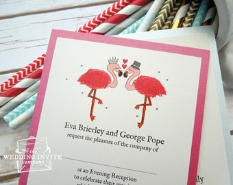Flamingo Postcard Wedding/Evening Invitations