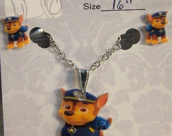 Paw Patrol Chase Cartoon Necklace and Earrings set - Paw Patrol Gift Set - Cartoon Jewelry