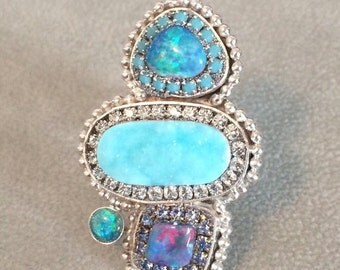 ON SALE Australian opals and hemimorphite ooak sterling silver ring
