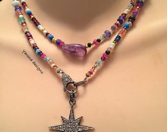SPRING SALE Multi gemstone pave diamond star necklace