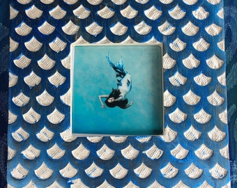 Framed Mermaid Art Print Blue Fish Scales
