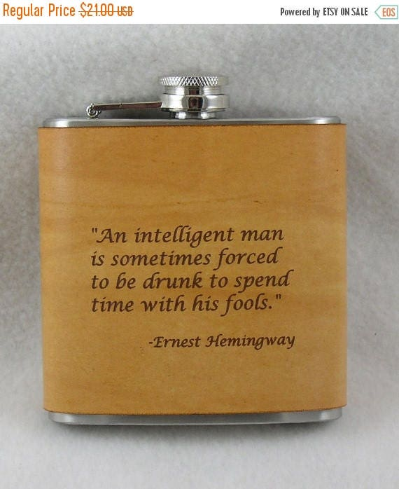 ON SALE Hemmingway Flask with Hand Dyed Engraved Leather Wrap, Scotch, Whiskey, Personalized Flask, Engraved Flask