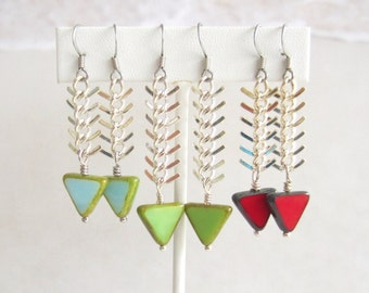 Fish Tails-Earrings-Silver-Choice of 3 Colors-Blue-Green-Red