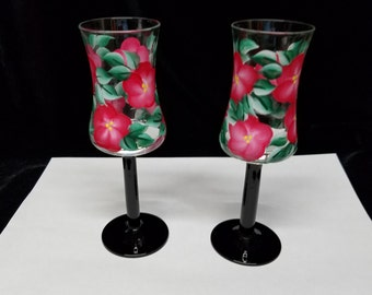 Hand Painted Cordial Glasses, Red Flowers with Black Stems