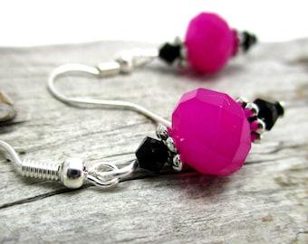 Neon Pink Crystal Drop Earrings - Swarovski Crystal Earrings - Earrings for Sensitive Ears