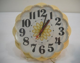 Vintage GE General Electric Kitchen Wall Clock Flower Design Yellow Wall Clock