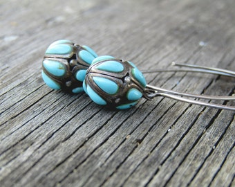 Antique Earrings // Turquoise and Sterling Silver Egg Dangle Earrings // Unique Earrings