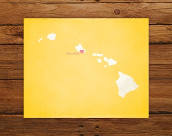 Customized Hawaii State Art Print, State Map, Heart, Silhouette, Aged-Look Personalized Print