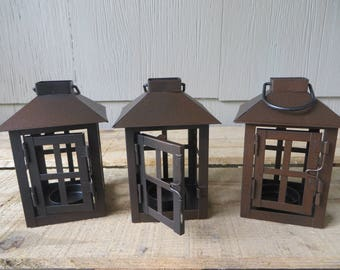 Rustic Bronze Square Mini Lantern table decoration  - wedding reception, centerpiece, favor