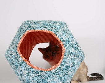 Cat Bed and Cute Play House for Kittens - the mini Cat Ball in Teal with Orange Stripes Lining