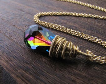 Rainbow Necklace, Rainbow Crystal, Unicorn Necklace, Orgon Charged, Energy Healing, Gay Pride, Ascension, Twinflame, Twinsoul, Spiritual