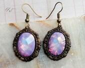 Opal Earrings, Dragons Breath Earrings, Dragon Breath Opal, Magic Opal Earrings, Lavender Opal