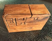 Handcrafted 18 Piece Butternut Puzzle Box with 2 secret pull out drawers and secret compartment