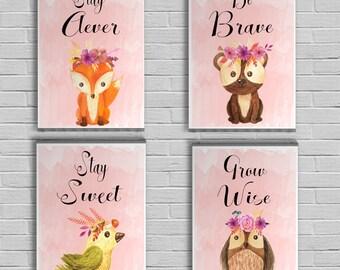 Woodland Nursery Prints -  Nursery wall decor -  Woodland nursery signs - Woodland nursery girl -  Baby animal prints - Baby shower gift
