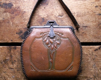 Vintage Arts and Crafts Tooled Brown Leather Purse with Art Nouveau Floral Flower Motif and Whip Stitched Edges