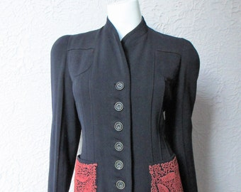 Reserved Vintage 30's  Embroidered Fitted Wool Crepe Coat sm/med.