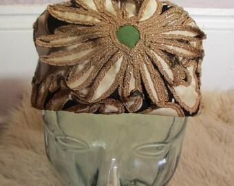 50's Vintage Mr. John Embroidered Silk Flower Hat 22.5