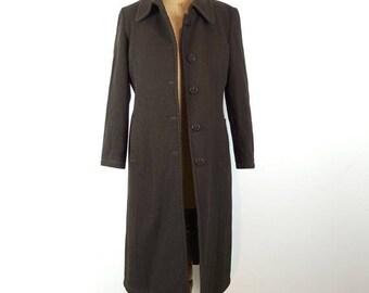 ON SALE Vintage 1970s Fendi original authentic Italian designer midi length brown diagonal cord wool coat