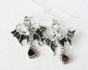 Silver dragon earrings, fine silver dragon earrings, dragon dangles, red garnet earrings, gothic dragons, pmc jewelry, rhodolite