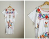 vintage white oaxacan mexican embroidered white summer dress -- womens large