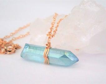 Aqua Aura Crystal Necklace -Boho Chic- Raw Crystal Necklace - Gold Filled