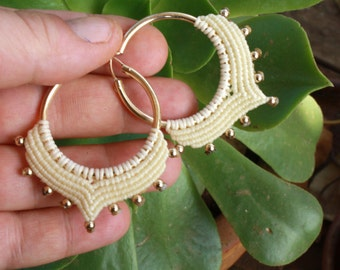 tribal ivory and gold hoop earrings, macrame earrings, ethnic earrings, bridal earrings, ethnic hoops, makrame, tribal, goldfilled hoops,