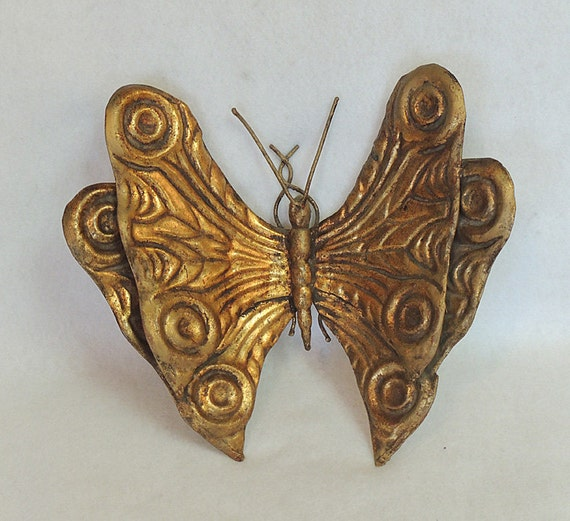 "Vintage Mid Century Made In Italian Metal Toleware Butterfly 10"" Gold Florentine"