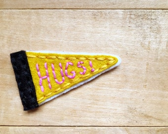 Hugs Pennant. Hand Embroidered Patch.
