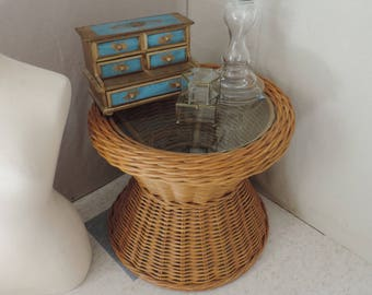 Wicker Side Table Textural Side Table Vintage Wicker Table Round Wicker  Table Glass Top Table