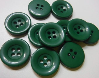 11 Forest Green Slope Rim Round Buttons Size 11/16""
