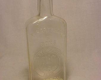 c1890s E. Hartshorn & Sons Boston established 1850 , Cork Top clear Blown Glass Medicine bottle No. 7