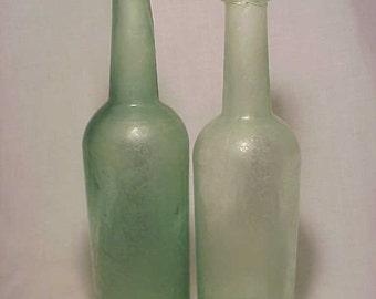 Set of Two c1840s Aqua Cork Top Blown Glass Open Pontil Pepper Sauce or Ketchup Bottles