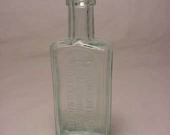 c1890s Nathan Wood & Son Portland, ME. , Aqua Cork Top Blown Glass Medicine bottle