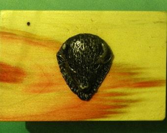 Elm wood and Pewter Belt Buckle  #1031