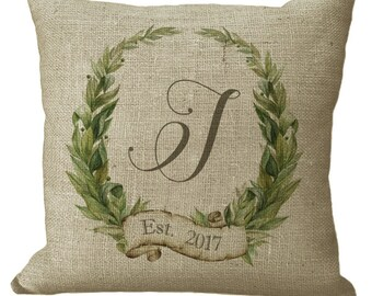 Monogram Custom Laurel Wreath in Choice of 14x14 16x16 18x18 20x20 22x22 24x24 26x26 inch Pillow Cover