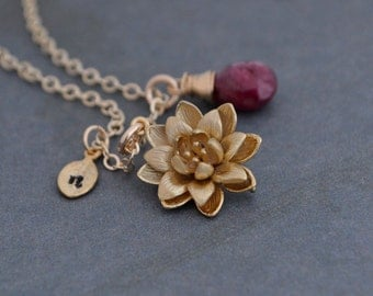 Personalized Gold Lotus Flower Necklace, Red Ruby, 14K Gold Filled Chain, Water Lily Flower Pendant, Beauty Life