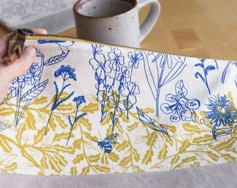 Large Pouch - Meadowlark and Parlor, Hand-printed fabric