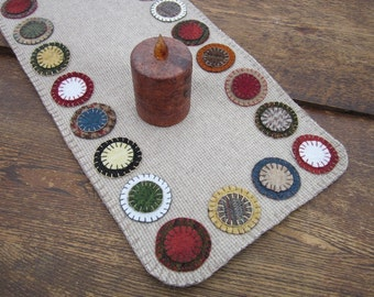 Wool penny rug, wool table runner