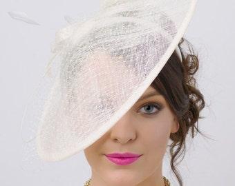 "Ivory Fascinator Hat - ""Wendy"" Wide Slightly brimmed mesh Fascinator Hat on a Headband"