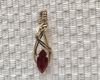 Garnet Marquise Wire Wrapped Pendant