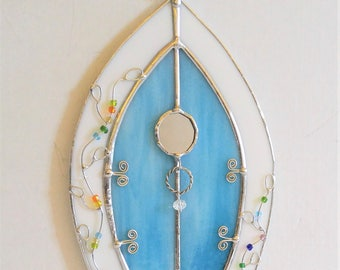 Fairy Door blue stained glass with wire vine