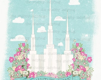 """Canvas Textured Washington DC LDS Temple """"Called to Serve"""" Instant Download 11x14"""