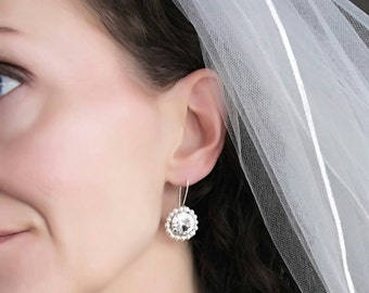 Pearl and Crystal Earrings, Bridal Earrings, Crystal Bridal Earrings, Pearl Earrings, Wedding Earrings, Clear Crystal Earrings