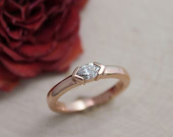 Diamond Marquise Ring in 14k Rose Gold, East to West Marquise, Half Bezel, Simple Engagement Ring, Minimalist Ring, Recycled, Made to Order
