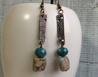 Serpentine and copper earrings