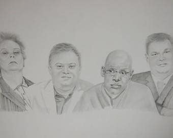 Original Pencil Drawing of The Chase Team