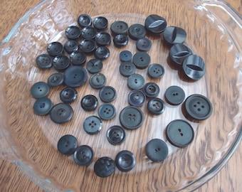 Lot Black Buttons, 50 Vintage black buttons
