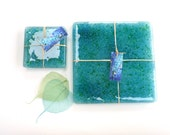 Reserved for Jacqui ~ Fused glass placemats, handmade art glass mats, set of 2, plate mat, recycled glass tablemats, eco gift, recycled home
