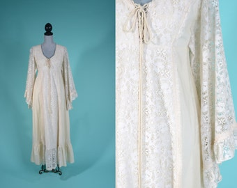 Vintage 1970s Boho Wedding Dress - Gunne Sax Lace Sleeves - Jessica McClintock Bridal Fashions 1975