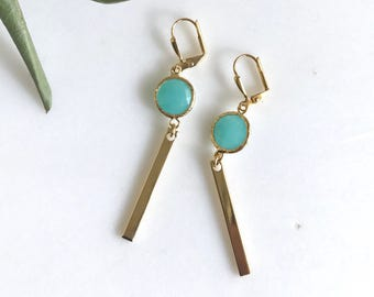 SALE - Turquoise Drop Earrings.  Jewel and Gold Bar Drop Earrings.  Stick Earrings. Bar Earrings. Gift.  Dangle Earrings.